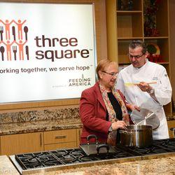 Lidia Bastianich at Three Square Food Bank.