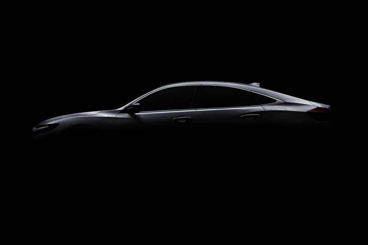 This photo provided by Honda shows the Honda Insight prototype, a new five-passenger gas-electric hybrid sedan which the automaker says it will unveil at the Detroit auto show in January 2018.