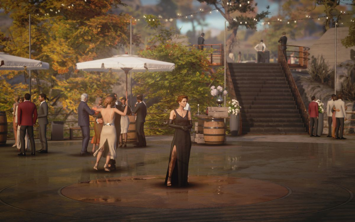 Diana Burnwood in a black evening gown, standing at the center of the dance floor waiting for Agent 47 in Hitman 3's Mendoza level