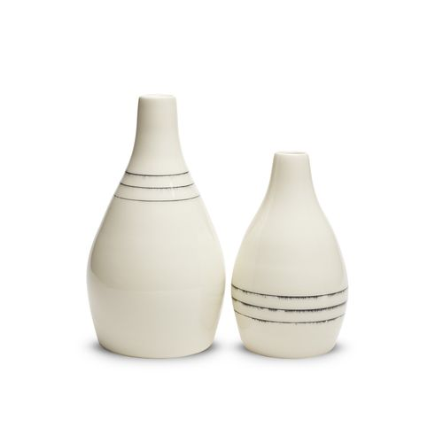 Keith Kreeger vases, white with black lines
