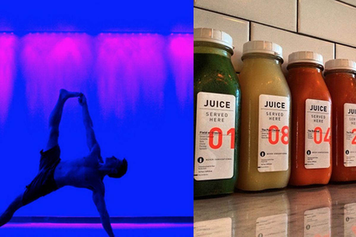 "Photos via AuraYoga, Juice Served Here/<a href=""https://www.facebook.com/JuiceServedHere/photos_stream"">Facebook</a>."