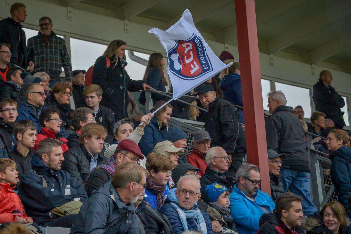 Fans with flag. FC Rosengård from Malmö beat Linköpings...