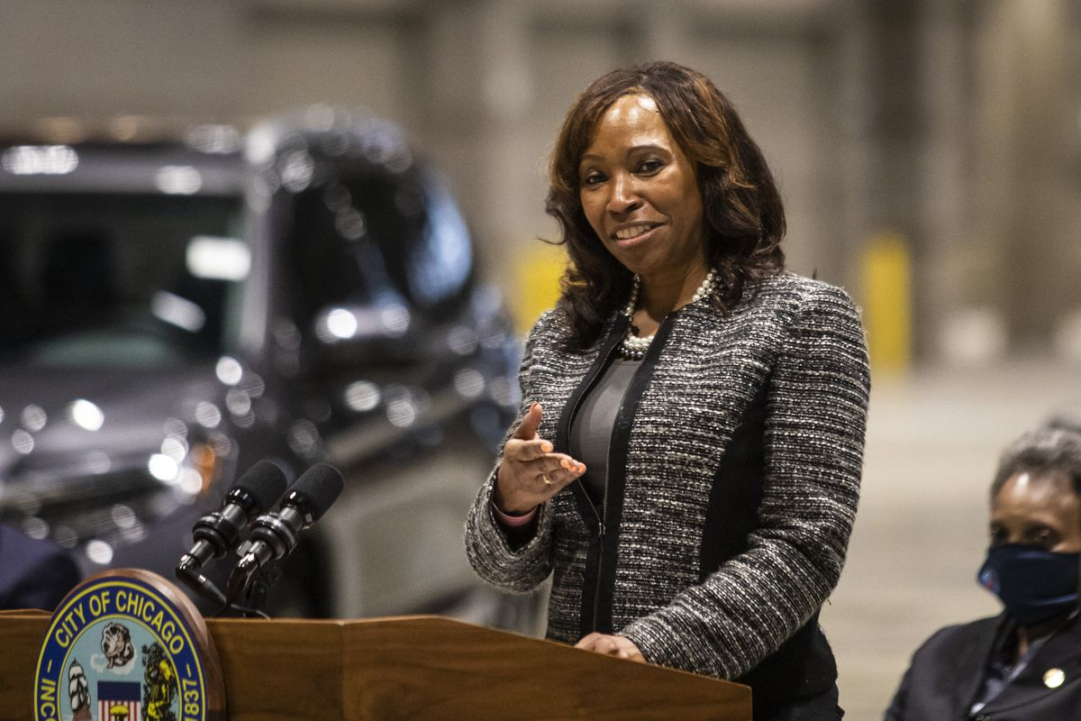 Larita Clark, CEO at the Metropolitan Pier and Exposition Authority, speaks May 4 at an event announcing the rescheduled Chicago Auto Show in July.