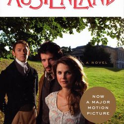 """The new movie tie-in book cover of """"Austenland"""" by Shannon Hale features Keri Russell, right, Bret McKenzie, center, and J.J. Fields."""