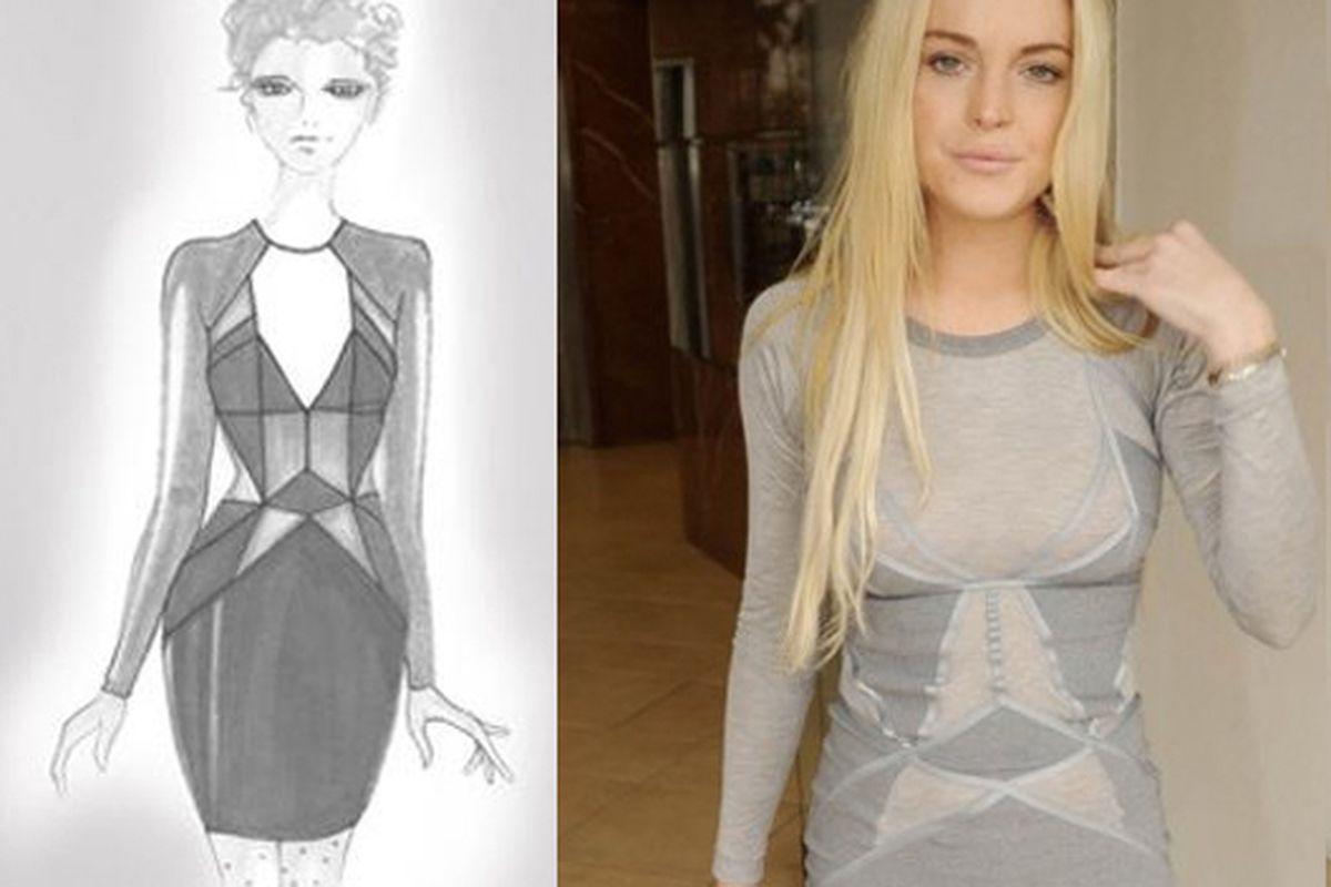 The 6126 sketch; Lohan's Jen Kao dress