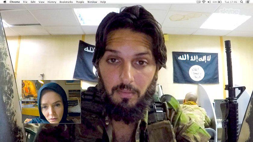 Investigative journalist Amy (Valene Kane) speaks to ISIS recruiter Abu Bilel Al-Britani (Shazad Latif) via a videochat window in Profile.