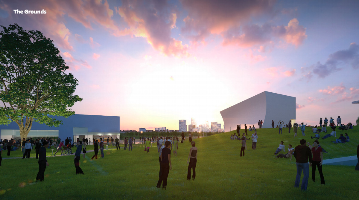 A rendering of the grassy grounds of the REACH expansion at the Kennedy Center.