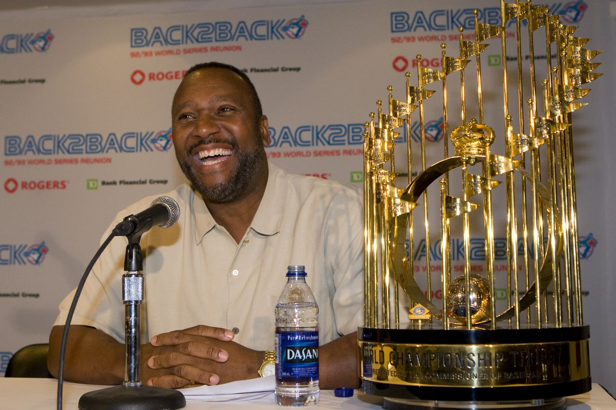 April 2 2009- Joe Carter sits with the 93 world series trophies. The team that won back-to-back Worl