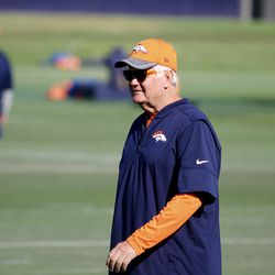 The man, the myth, the legend of defense, Broncos Defensive Coordinator Wade Phillips before the beginning of the joint practice with the 49ers at training camp.