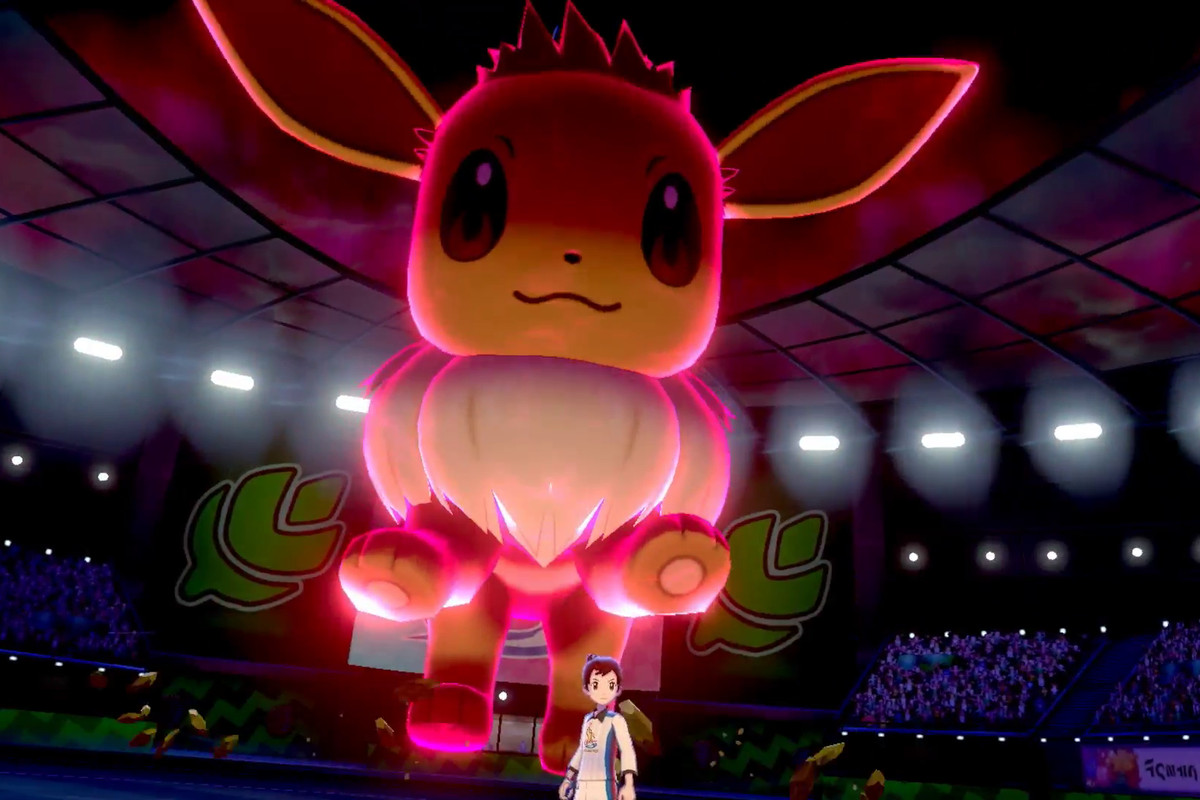 a Dynamax Eevee in an arena in Pokemon Sword/Shield
