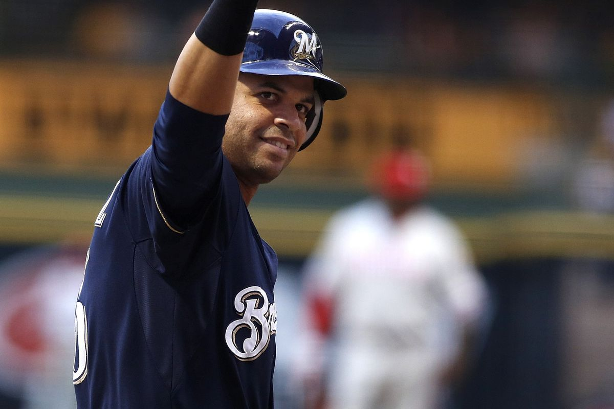MILWAUKEE, WI - AUGUST 16:  Aramis Ramirez #16 of the Milwaukee Brewers celebrates a home run against the Philadelphia Phillies during their game at Miller Park onAugust 16, 2012 in Milwaukee, Wisconsin. (Photo by Mark Hirsch/Getty Images)