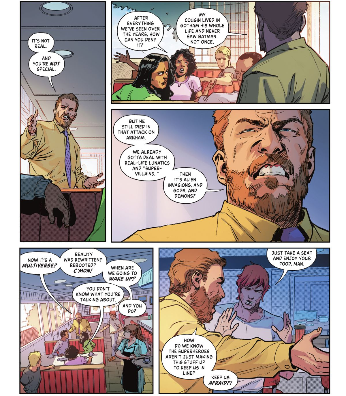 """A man in a diner goes on an anti-superhero rant, claiming that the """"multiverse"""" is an idea they made up despite many people remembering the last Crisis Event in Infinite Frontier #1 (2021)."""