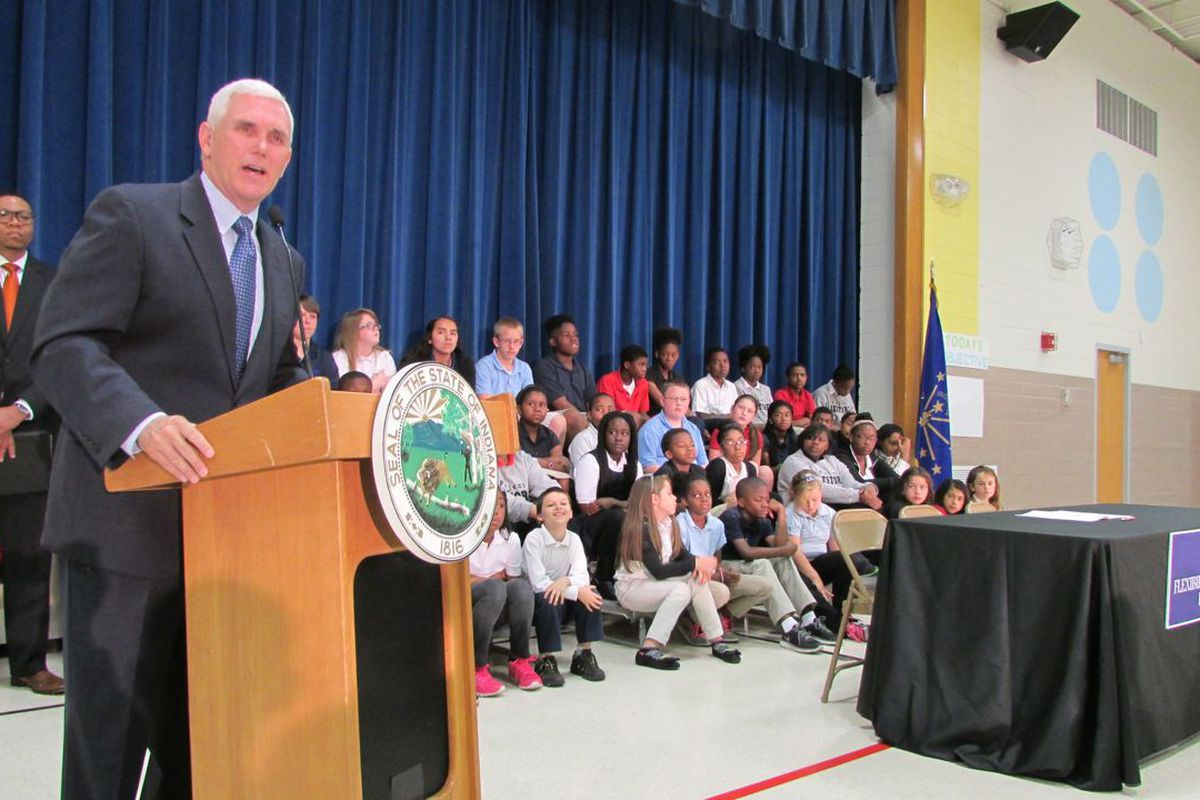 Gov. Mike Pence visited IPS School 88 in May.