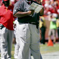 Kansas City Chiefs coach Romeo Crennel directs his team during the second half of an NFL football game against the Atlanta Falcons at Arrowhead Stadium in Kansas City, Mo., Sunday, Sept. 9, 2012.
