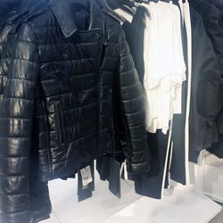 Leather jackets at H&M in WeHo.