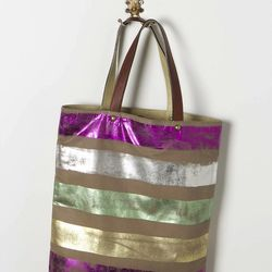 """Foil Striped Tote, <a href=""""http://www.anthropologie.com/anthro/product/clothes-ten/24664583.jsp"""">$88</a>"""