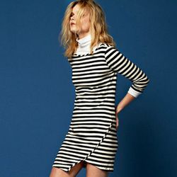 """The asymmetrical hem on this Kandy knit dress, $129 at <a href=""""http://www.amourvert.com/kandy-dress-navy-stripe/"""">Amour Vert</a>, will set you apart from the throngs of striped-dress wearing women over the weekend."""