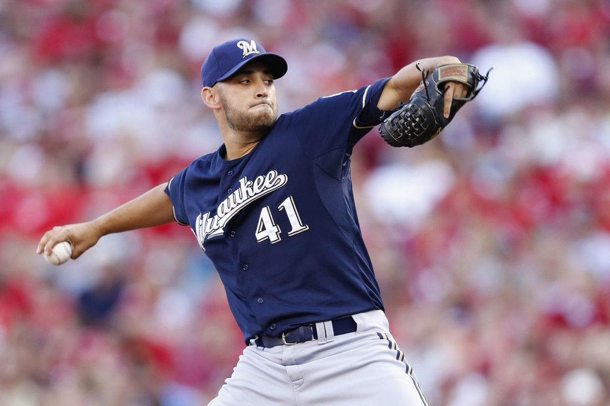CINCINNATI, OH - JUNE 26: Marco Estrada #41 of the Milwaukee Brewers pitches in the first inning of the game against the Cincinnati Reds at Great American Ball Park on June 26, 2012 in Cincinnati, Ohio. (Photo by Joe Robbins/Getty Images)