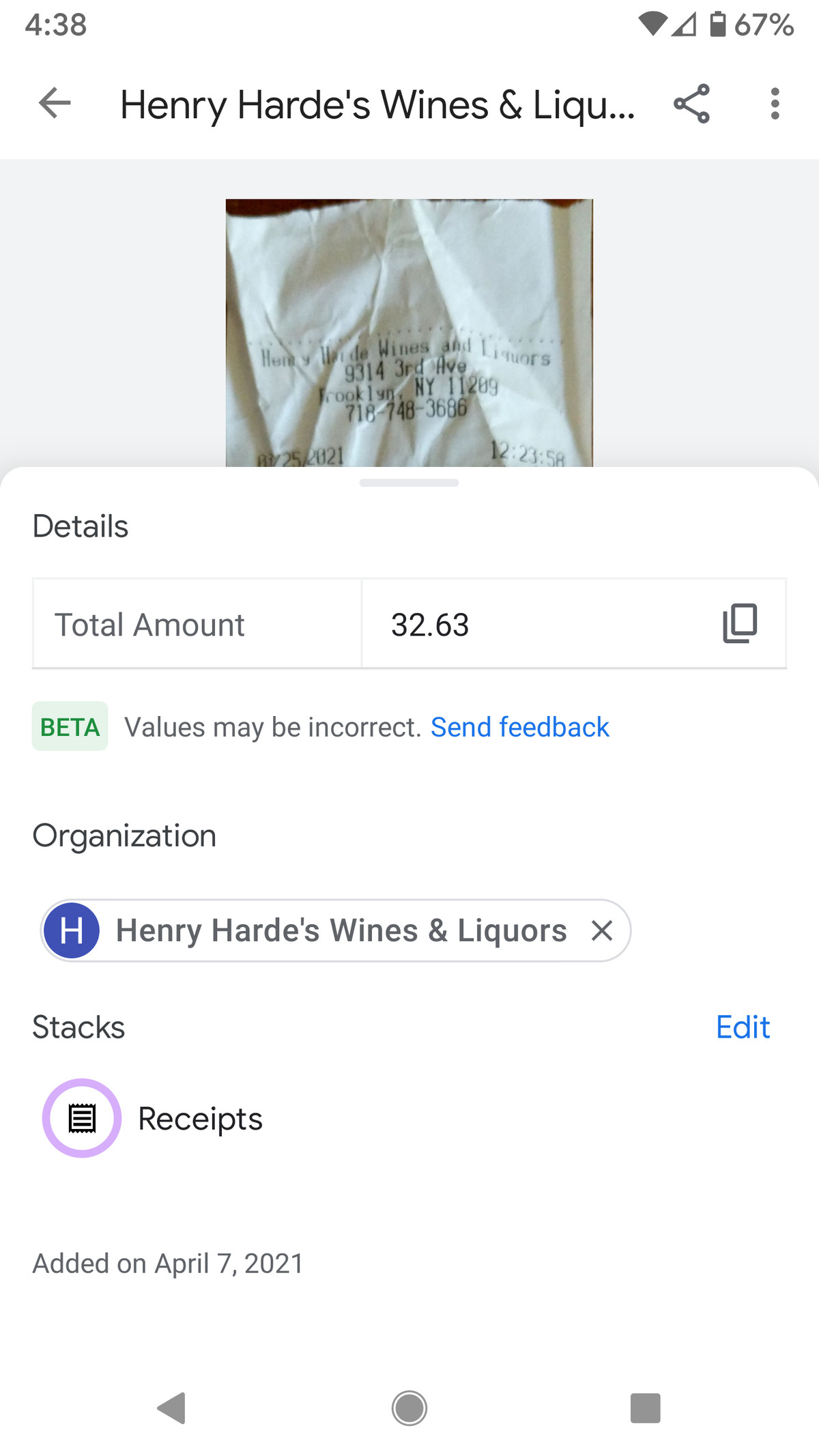 Stack's AI extracted data even from a curly receipt.