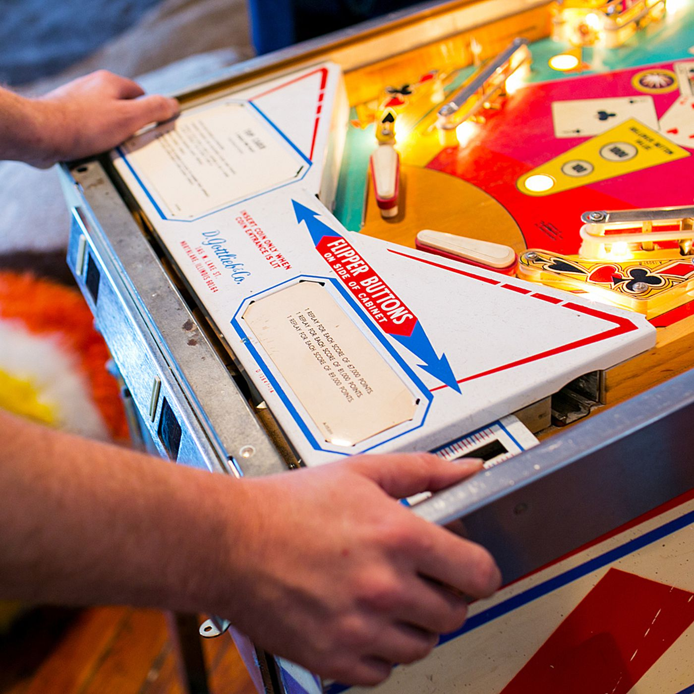 An analog pinball cabinet is being transformed into a