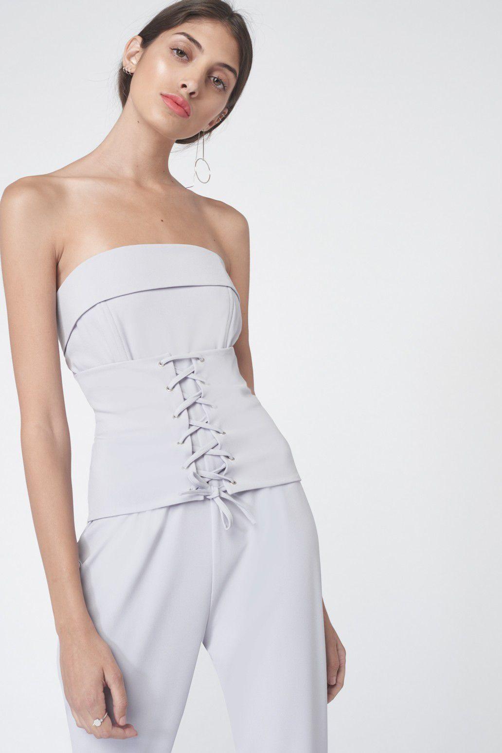 Lavish Alice Corset Panel Tailored Jumpsuit in Dove Grey, $97.34