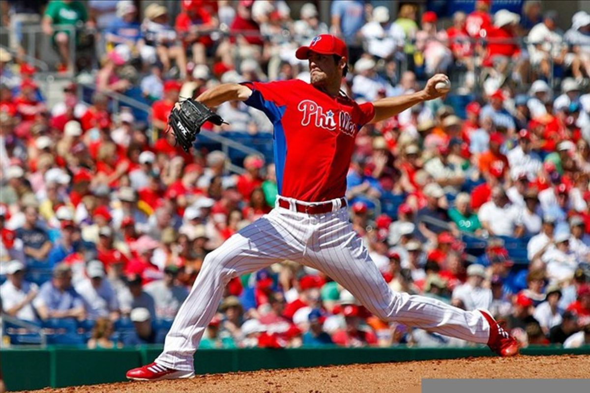 March 8, 2012; Clearwater FL, USA; Philadelphia Phillies starting pitcher Cole Hamels (35) pitches in the second inning of the game against the Pittsburgh Pirates at Bright House Field. Daniel Shirey-US PRESSWIRE