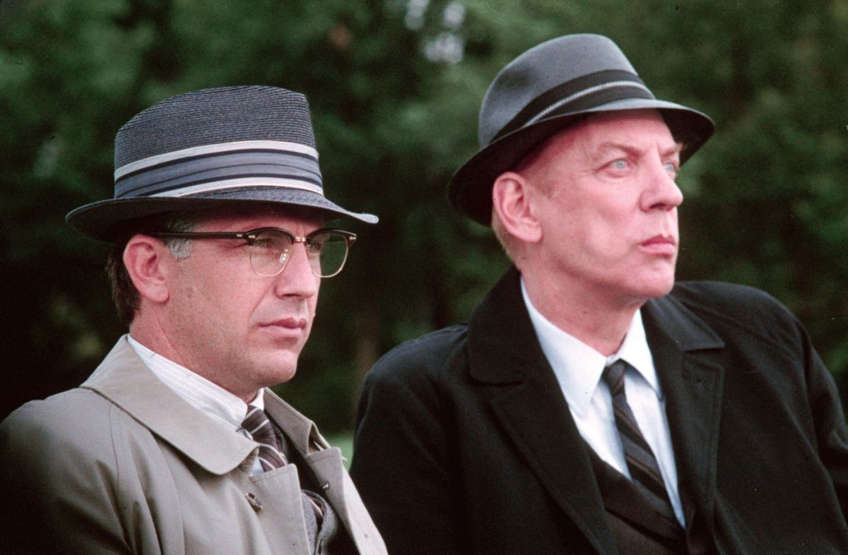 Kevin Costner and Donald Sutherland in JFK