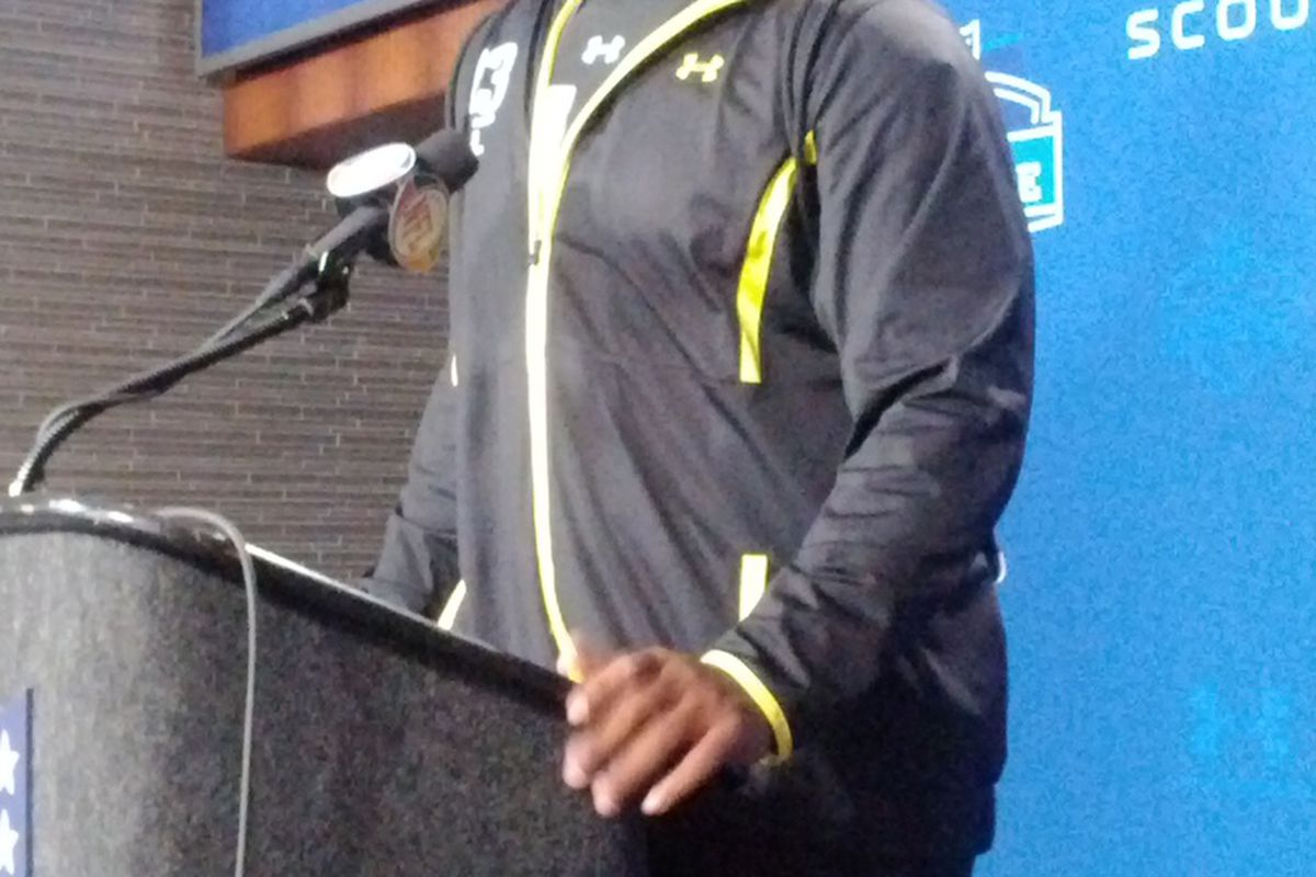6054, 320lbs. Has played both left and right Tackle.