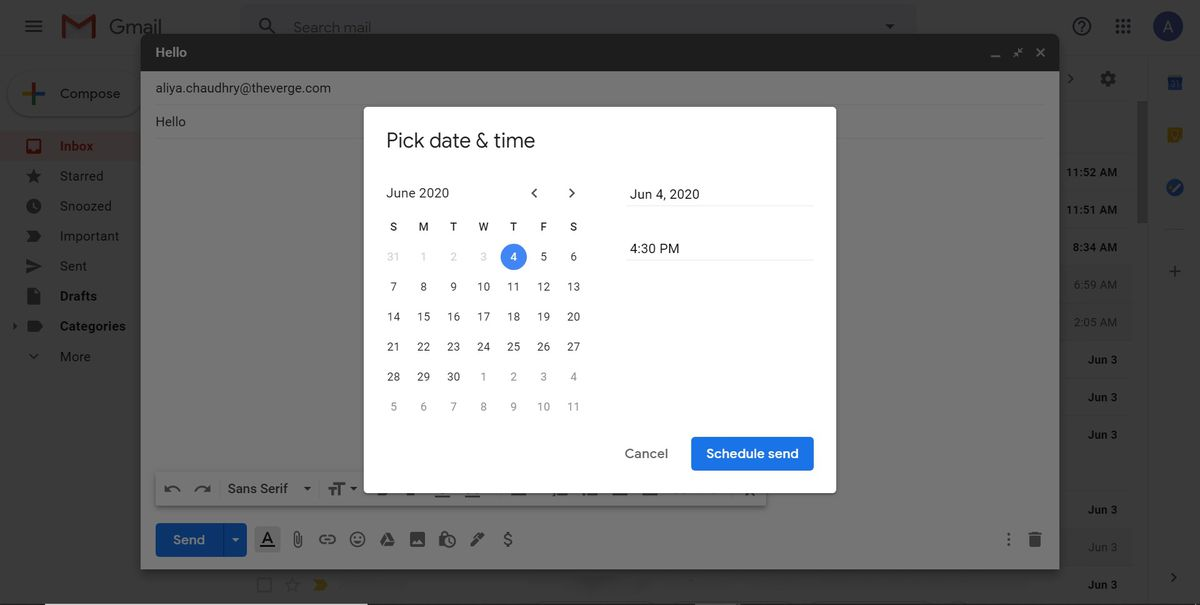 """Pick date and time"" window"