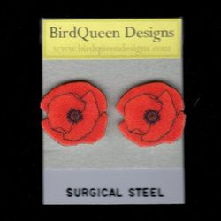 """""""The <a href=""""http://birdqueendesigns.com/artwork/1653722_Red_Poppy_Earring.html"""">Red Poppy Post Earrings</a> ($12) are a recent upgrade. I used to have a dangle earring available, but there was something """"off"""" about them in my opinion. These are simpler,"""