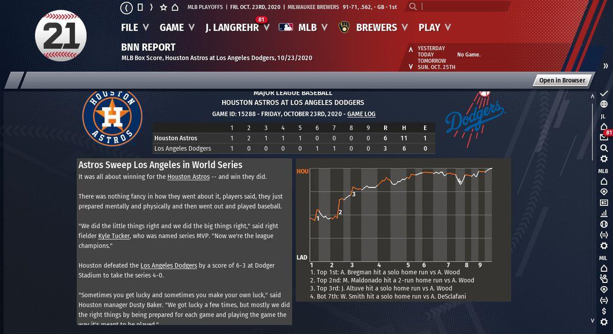 2020 Sim Astros Win World Series