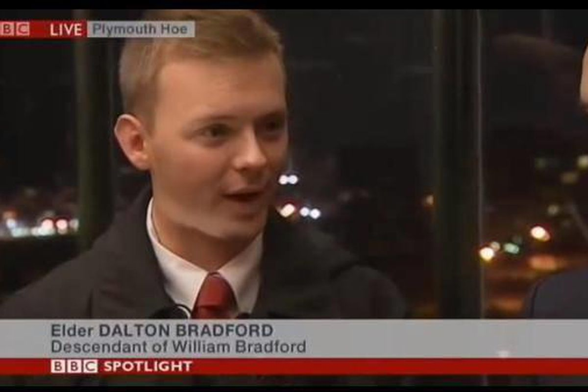 Elder Dalton Bradford was recently featured on his mission as a descendant of William Bradford, one of the founders of the Plymouth Colony in America.