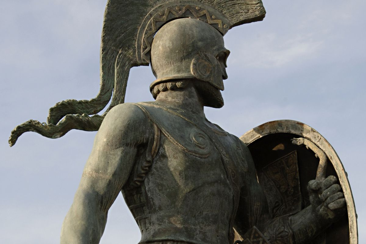 A modern monument to Leonidas, the famous Spartan. Note the embellished cuirass.