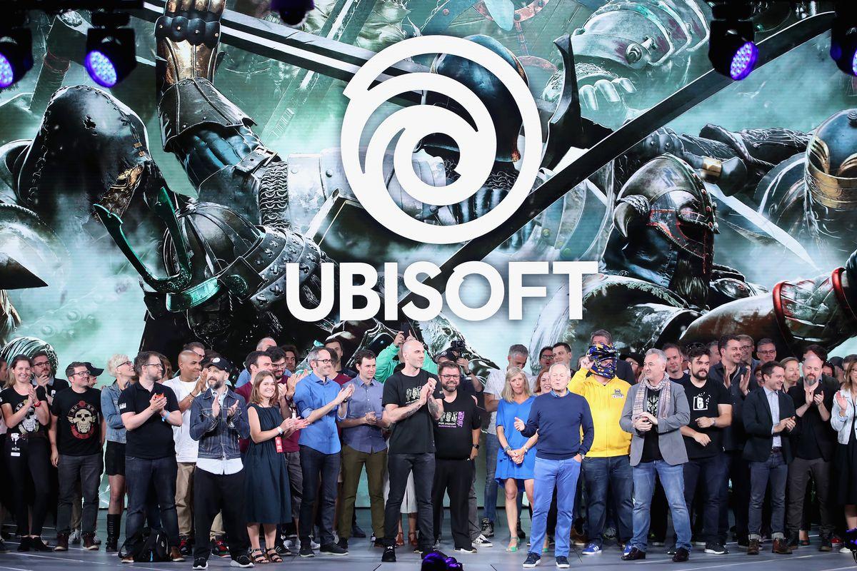 Ubisoft's Yves Guillemot speaks at E3 2018 with Ubisoft staff