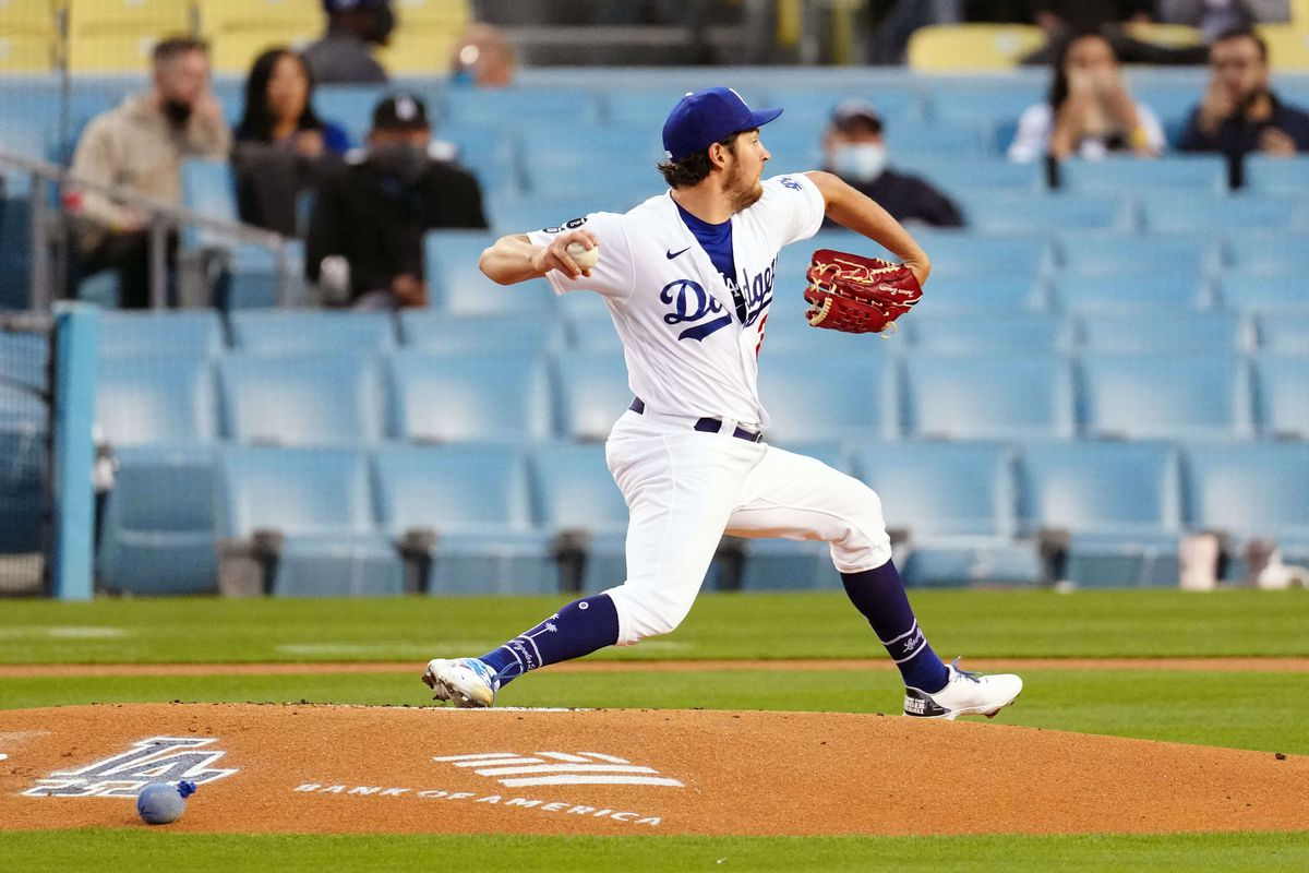 Los Angeles Dodgers pitcher Trevor Bauer pitches during the first inning against the Colorado Rockies at Dodger Stadium.