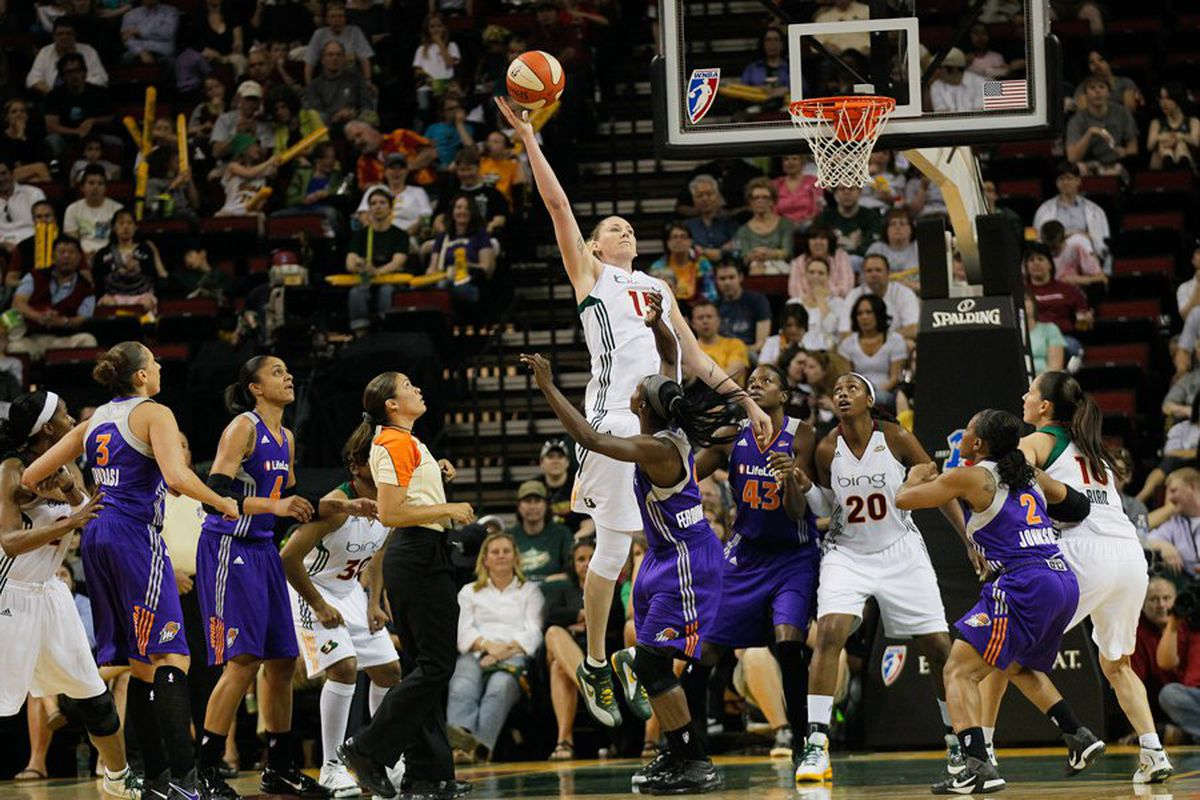 """The biggest reason the Phoenix Mercury haven't beaten the Seattle Storm in KeyArena since 2009: center Lauren Jackson might be a pretty good start. <em>Photo by <a href=""""http://www.kailasimages.com"""" target=""""new"""">Kailas Images</a>.</em>"""