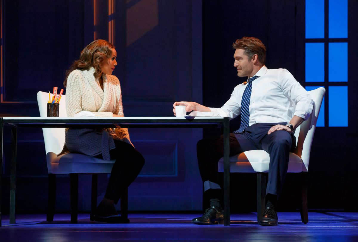 """Deborah Cox plays Rachel Marron and Judson Mills plays Frank Farmer in the musical version of 'The Bodyguard,"""" at the Oriental Theatre. (Photo: Joan Marcus)"""