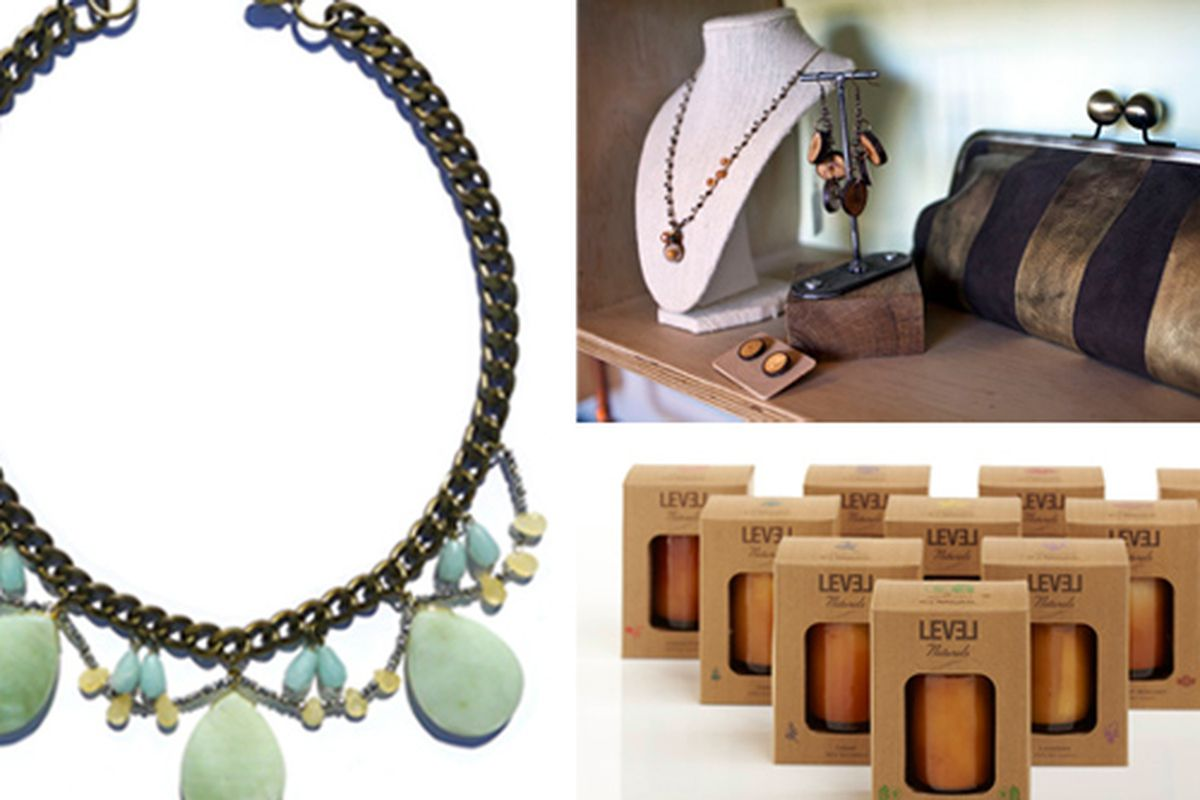 Clockwise from left: Jewelry from Tamara Noor, accessories from Wood Brain and candles by LeveL Naturals. Images via Crafted