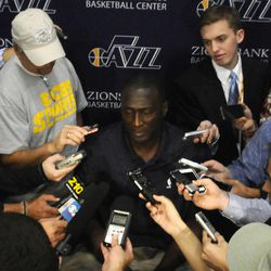 Jazz Head Coach Tyrone Corbin answers questions during media day at the Zions Bank Basketball Center on Sept. 30.