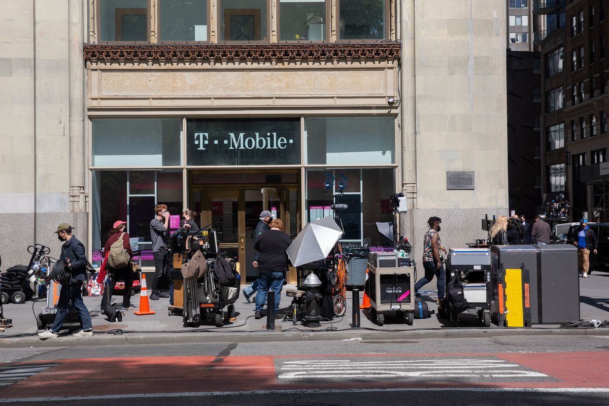 A film crew shoots on Broadway in lower Manhattan, May 11, 2021.
