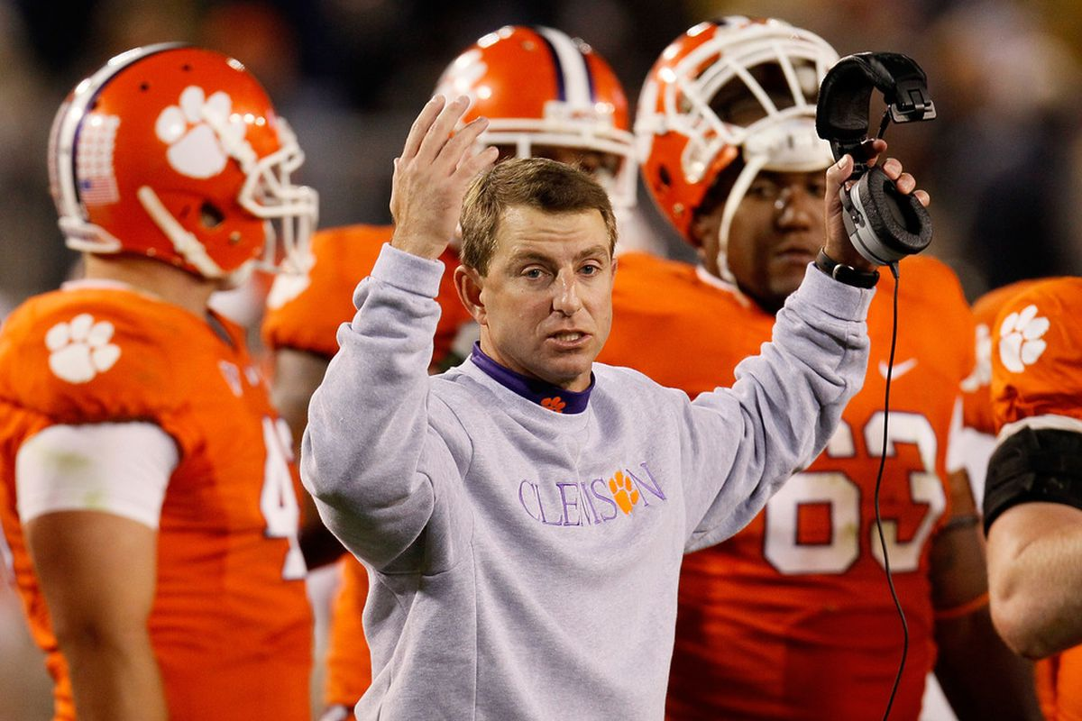 ATLANTA, GA - OCTOBER 29:  Head coach Dabo Swinney of the Clemson Tigers reacts after a call during the game against the Georgia Tech Yellow Jackets at Bobby Dodd Stadium on October 29, 2011 in Atlanta, Georgia.  (Photo by Kevin C. Cox/Getty Images)