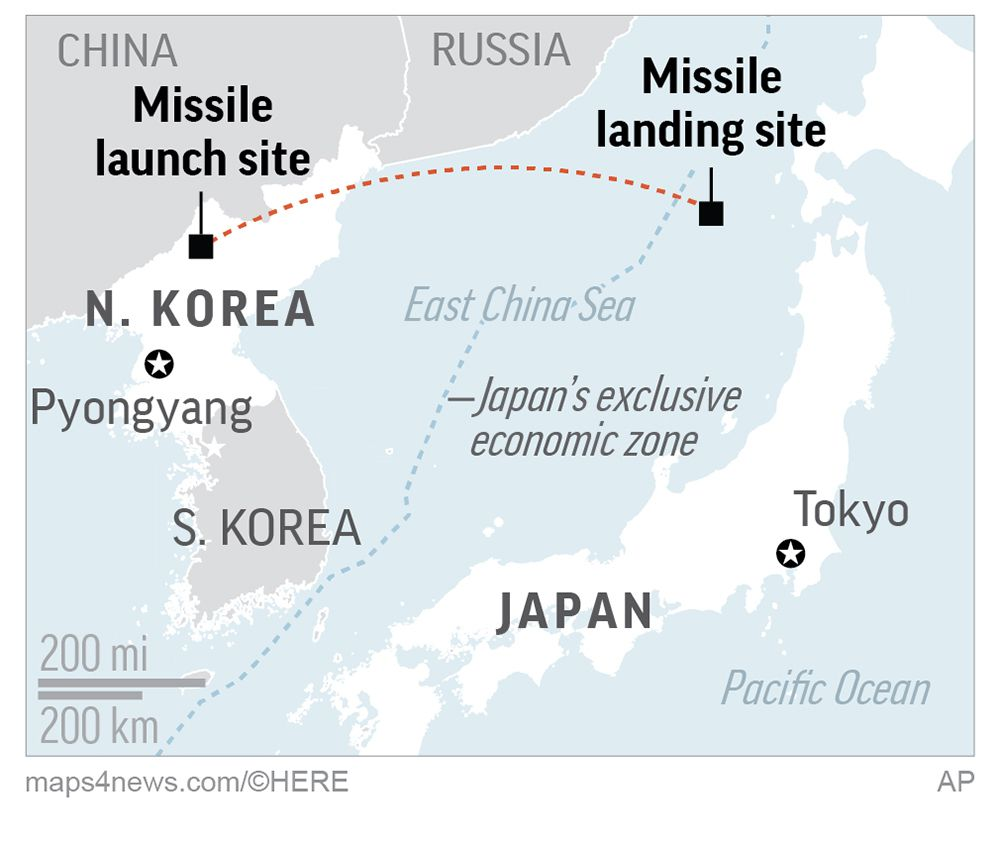 A Hwasong-14 missile launched by North Korea reached a maximum height of 2,314 miles and traveled 620 miles before landing in waters off Japan.