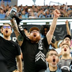 August 7, 2019 - Saint Paul, Minnesota, United States - The Wonderwall erupts as Minnesota United take a 2-1 lead in the US Open Cup semifinal match against the Portland Timbers at Allianz Field.