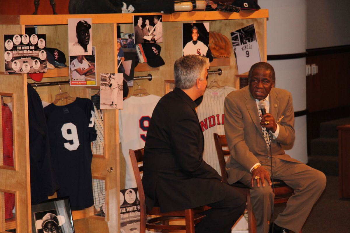 Pedro Gomez with Minnie Minoso at his Hall of Fame forum.