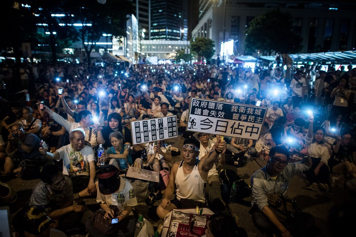 Pro-democracy protests in Hong Kong on July 1, 2014.