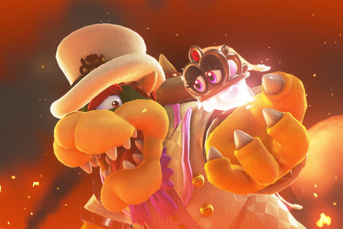 Super Mario Odyssey - Bowser with Tiara in his hand