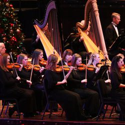 The Orchestra at Temple Square performs during the Mormon Tabernacle Choir Christmas concert in Salt Lake City on Thursday, Dec. 14, 2017.