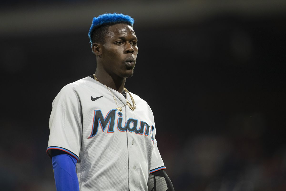 Jazz Chisholm Jr. of the Miami Marlins looks on against the Philadelphia Phillies at Citizens Bank Park