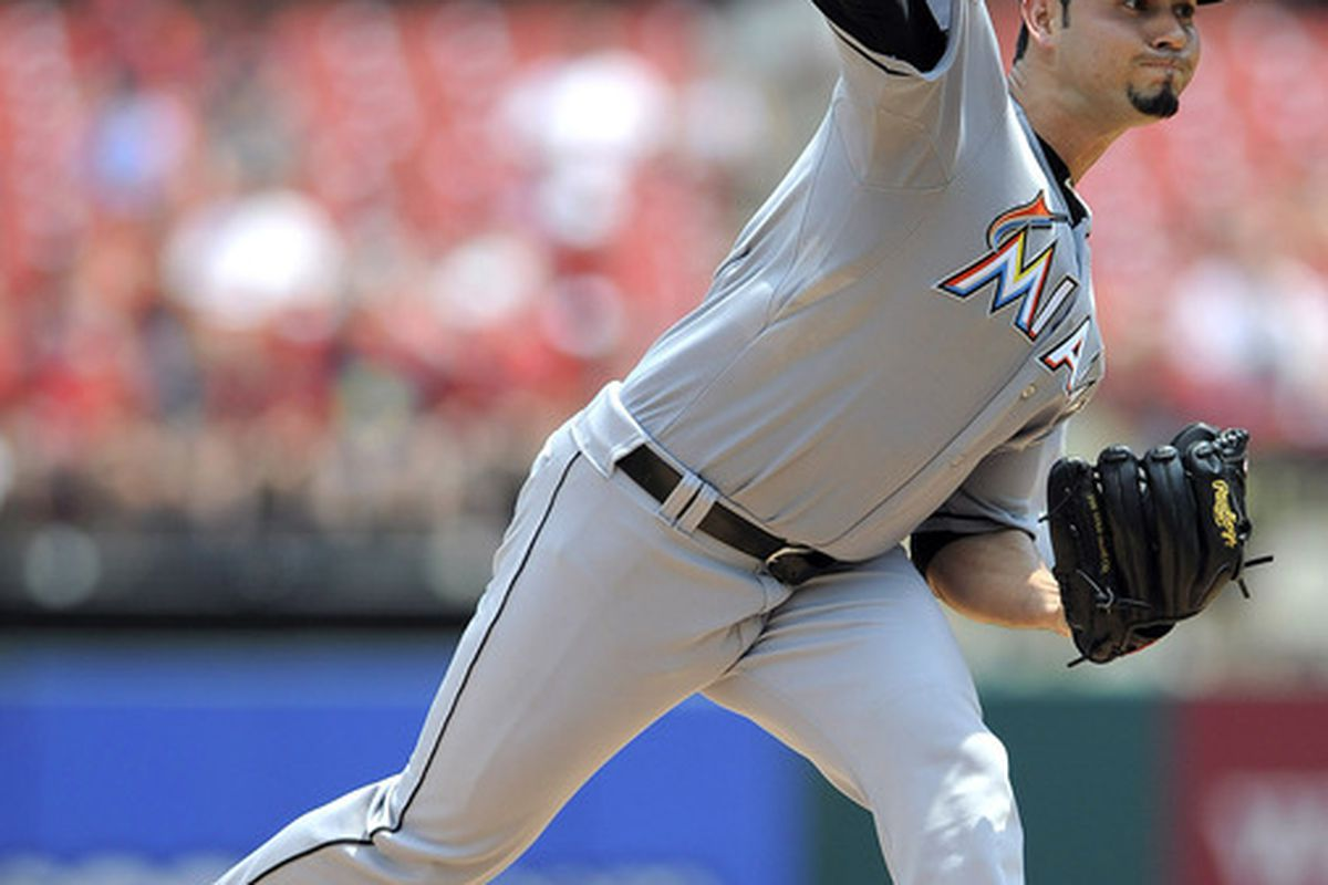 July 8, 2012; St. Louis, MO. USA; Miami Marlins starting pitcher Anibal Sanchez (19) throws to a St. Louis Cardinals batter in the first inning at Busch Stadium. Mandatory Credit: Jeff Curry-US PRESSWIRE