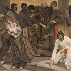 """Bruce H. Smith's oil on canvas """"Bait"""" is featured in the BYU Museum of Art's """"The Interpretation Thereof: Contemporary LDS Art and Scripture"""" exhibition."""